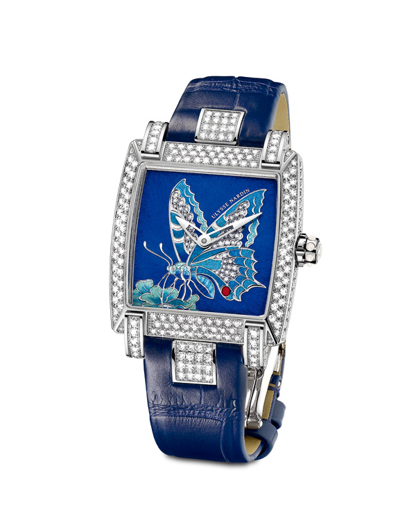 blu leather strap copy Ulysse Nardin Caprice Butterfly